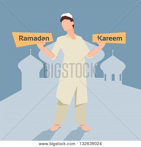 Arab Man With Plate Ramadan Kareem Mosque Background Muslim Religion Holy Month Vector Illustration