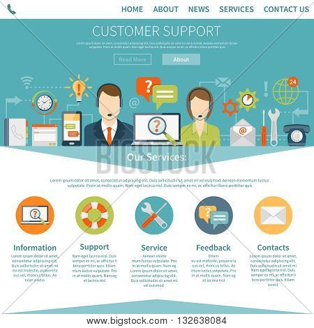 Contact us customer page describing services of online and offline support flat vector illustration