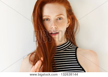 Close Up Portrait Of Beautiful Sensual Caucasian Young Female With Long Loose Red Hair And Perfect F