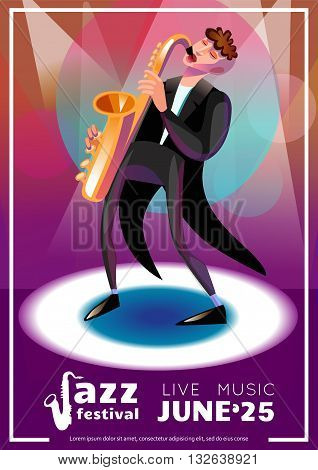 Jazz Festival Poster. Jazz Festival Vector Illustration.Jazz Festival Design. Jazz Festival Cartoon Decorative Symbols.