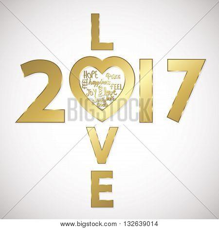 Love 2017 greeting card golden full vector