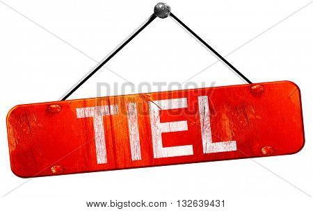 Tiel, 3D rendering, a red hanging sign