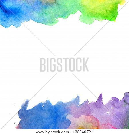 Colored watercolor background. Hand paintings. Rainbow art blank