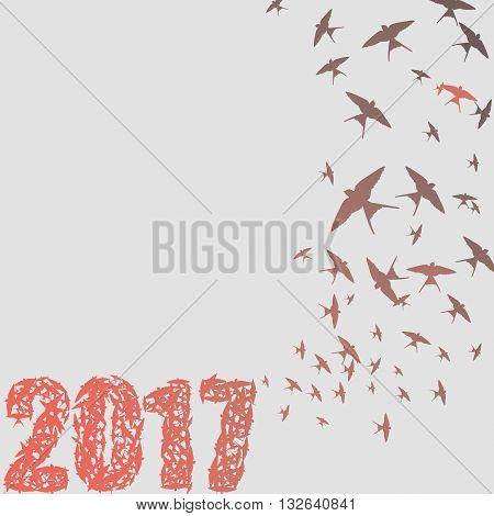 Birds 2017 greeting card full vector elements