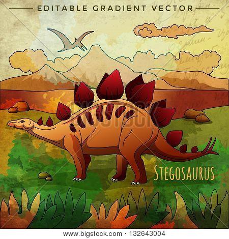 Stegosaurus. Vector illustration of a dinosaur in its habitat.
