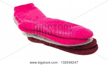 color warm socks isolated on white background