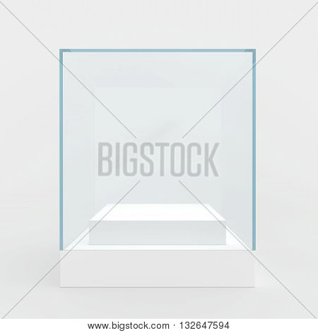 Empty glass showcase. 3d render. isolated on gray background.