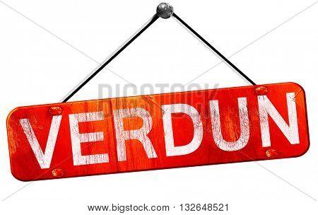 verdun, 3D rendering, a red hanging sign