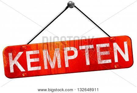 Kempten, 3D rendering, a red hanging sign