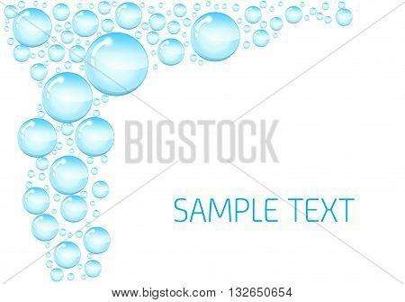 Soap bubbles background. background with shiny soap bubbles and space for text. Circle and liquid transparent soap shiny, vector illustration