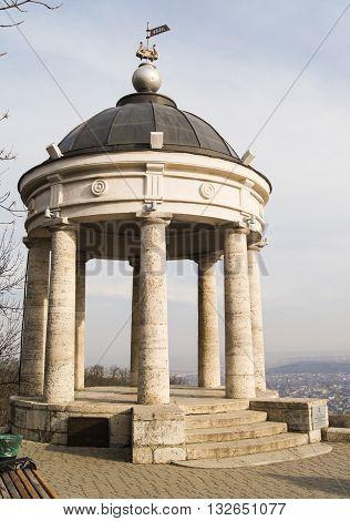 Kislovodsk, Russia - 28 February, Pergola with stone columns, 28 February, 2016. Resort zone Mineral Waters, Krasnodar region.