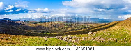Panorama Of A Colourful Undulating Irish Landscape In Kerry