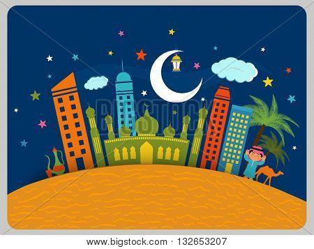 Creative Islamic Elements like Mosque, Arabian Boy, Crescent Moon etc. on Desert for Muslim Community Festivals Celebration.