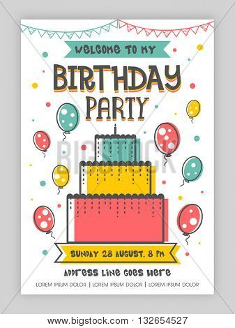 Birthday Party Invitation Card or Welcome Card design