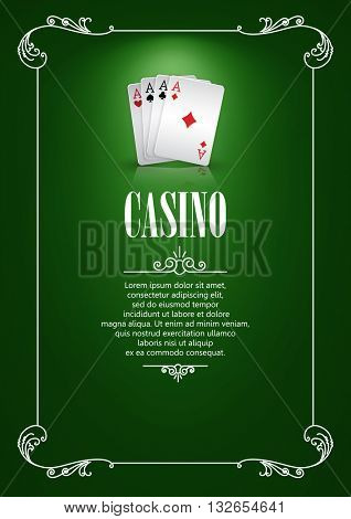 Casino Logo Poster Background or Flyer with Playing Cards. Banner with Casino Logo Badges. Game Cards on Green Canvas. Playing Casino Games. Casino Banner. Casino Games Gambling Template background.