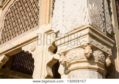 A detail of a cenotaph in the Royal Gaitor near Jaipur in Rajasthan India