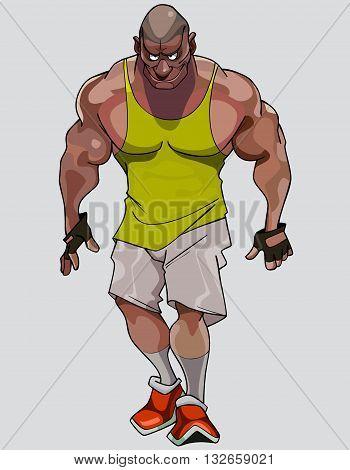 cartoon formidable muscular athlete man in sportswear