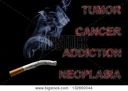 Burned cigarette and text Cancer Tumor addiction and neoplasia