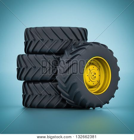 Image of tractor wheels isolated on blue background