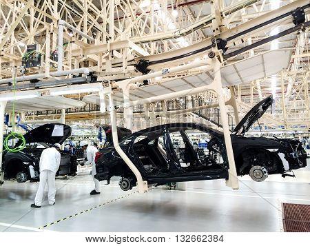PRACHINBURI Thailand - May 12 2016: Honda Automobile Thailand assembly line of car body parts at Prachinburi plant in Rojana Industrial Park.