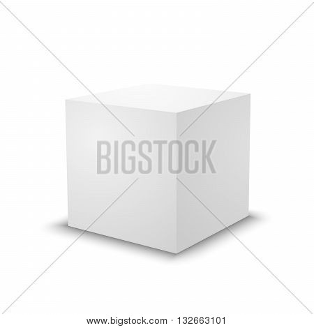 Blank white cube on white background. 3d box template.