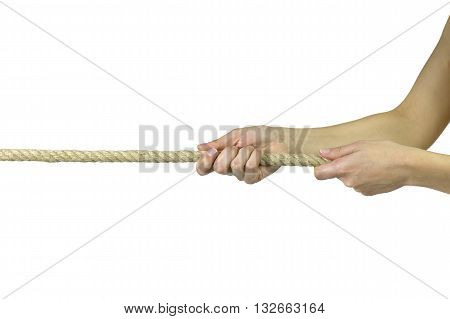 One person tug of war, over a white background.