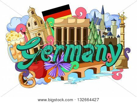 vector illustration of Doodle showing Architecture and Culture of Germany