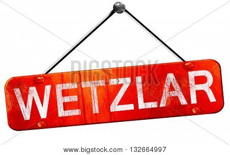 Wetzlar, 3D rendering, a red hanging sign