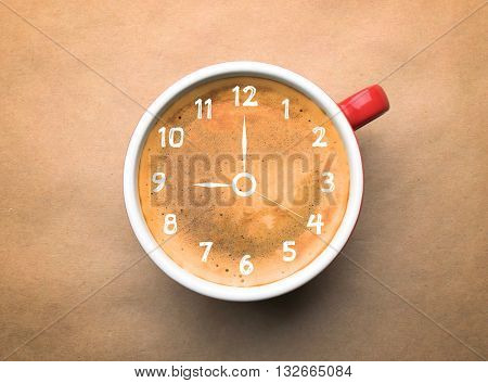 Cup of coffee on beige background, top view. Time concept