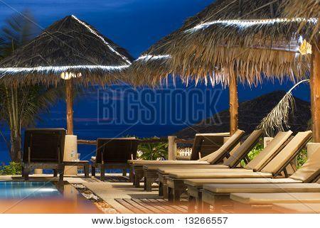 beach beds at resort