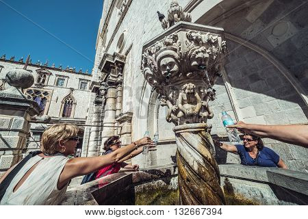 Dubrovnik Croatia - August 26 2015. Small Onofrio's Fountain at Luza Square on the Old Town of Dubrovnik city Croatia
