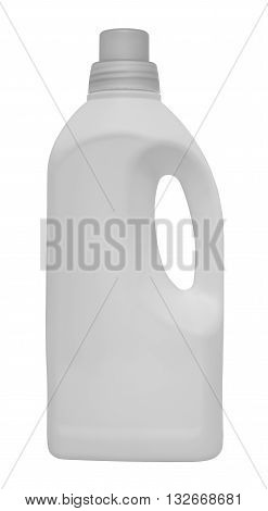 White plastic container for cleansers. Isolated on the white background. Without shadow.