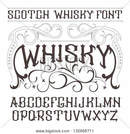 Vector Vintage Label Font. Whisky Style