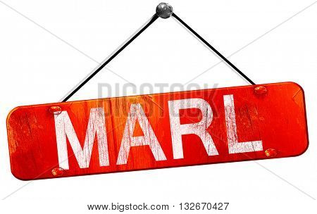 Marl, 3D rendering, a red hanging sign