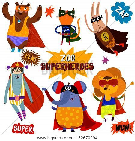 Part 1. Superhero Animals:bear, Cat, Rabbit, Opossum, Elephant, Lion.awesome Childish Collection  In