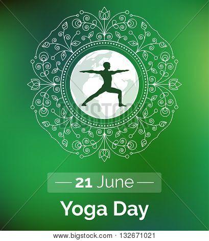 Vector yoga illustration. Template of poster for International Yoga Day. Flyer for 21 June Yoga day. Man does yoga exercises on ethnic pattern backdrop. Linear design. Trendy yoga poster banner.
