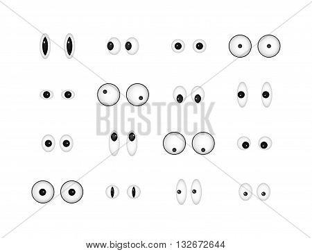 Set of eye emoticon vector isolated on white background. Emoji vector. Eye icon set. Emoticon icon web.