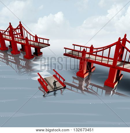 Strategy change and contingency plan as a businessman using part of a bridge as a floating barge to set a different path as a business planning metaphor with 3D illustration elements.