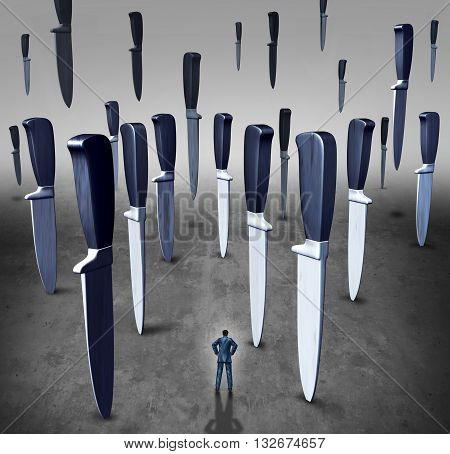 Concept of business danger or career crisis as a businessman in a path of falling knives and knife blades as a metaphor for corporate risk with 3D illustration elements.
