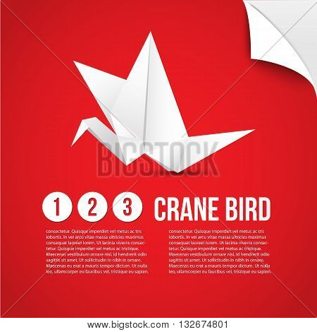 Vector paper origami crane icon. Colorful origamy set. Paper design for your identity. Origamy logo modern style