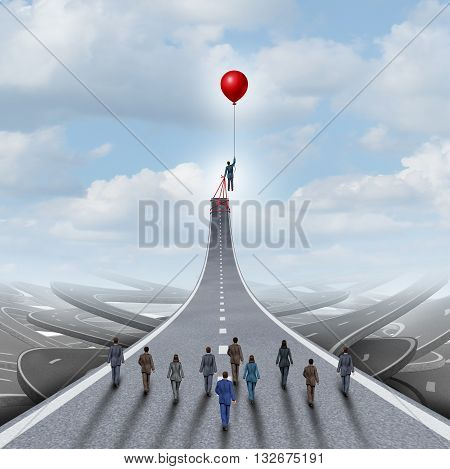 Ambitions concept and business success management and team manager symbol as a businessman lifting a road up with a balloon as a leadership metaphor with 3D illustration elements.