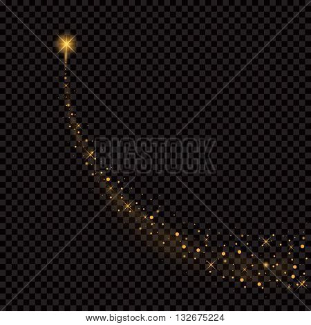 Creative concept Vector set of gold glow light effect stars bursts with sparkles isolated on black background