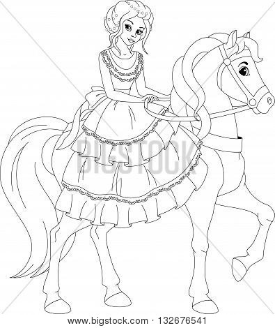 Princess riding on a horse coloring page