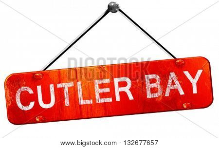 cutler bay, 3D rendering, a red hanging sign
