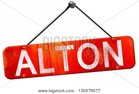 alton, 3D rendering, a red hanging sign