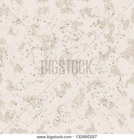 Vector seamless pattern. Grunge background with stains and drops and splashes in light creamy biege color.