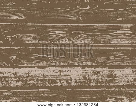 Vector grunge wooden texture in brown color.