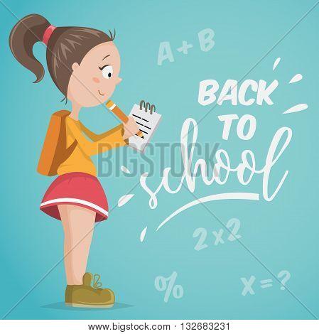 Back to school. Schoolgirl with notebook. Funny cartoon character. Vector illustration