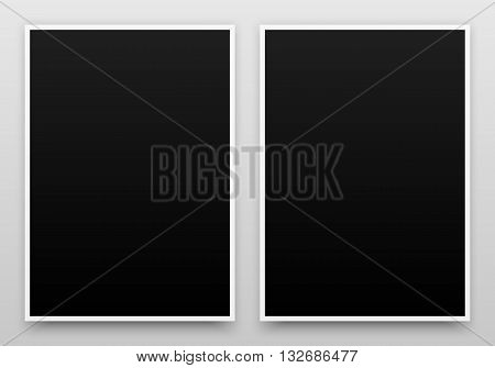 A2 black posters realistic template, mock-up with margins, realistic shadow and light background for design concepts, presentations, web, identity, prints. Vector illustration.