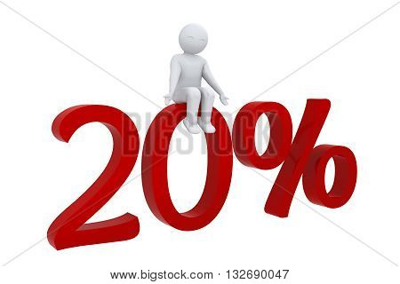 3d human sits on a red 20%
